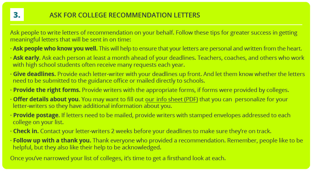 steps for recommendation letters
